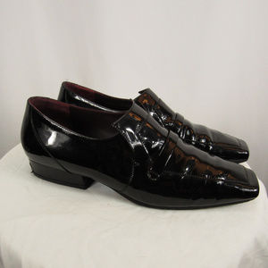 Chanel Black Patent Leather Sq Toe Loafer Shoes 38